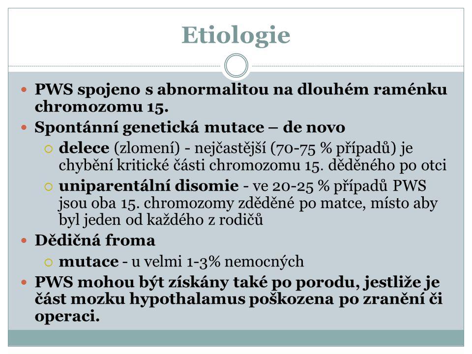 Etiologie PWS spojeno s abnormalitou na dlouhém raménku chromozomu 15. Spontánní genetická mutace – de novo  delece (zlomení) - nejčastější (70-75 %