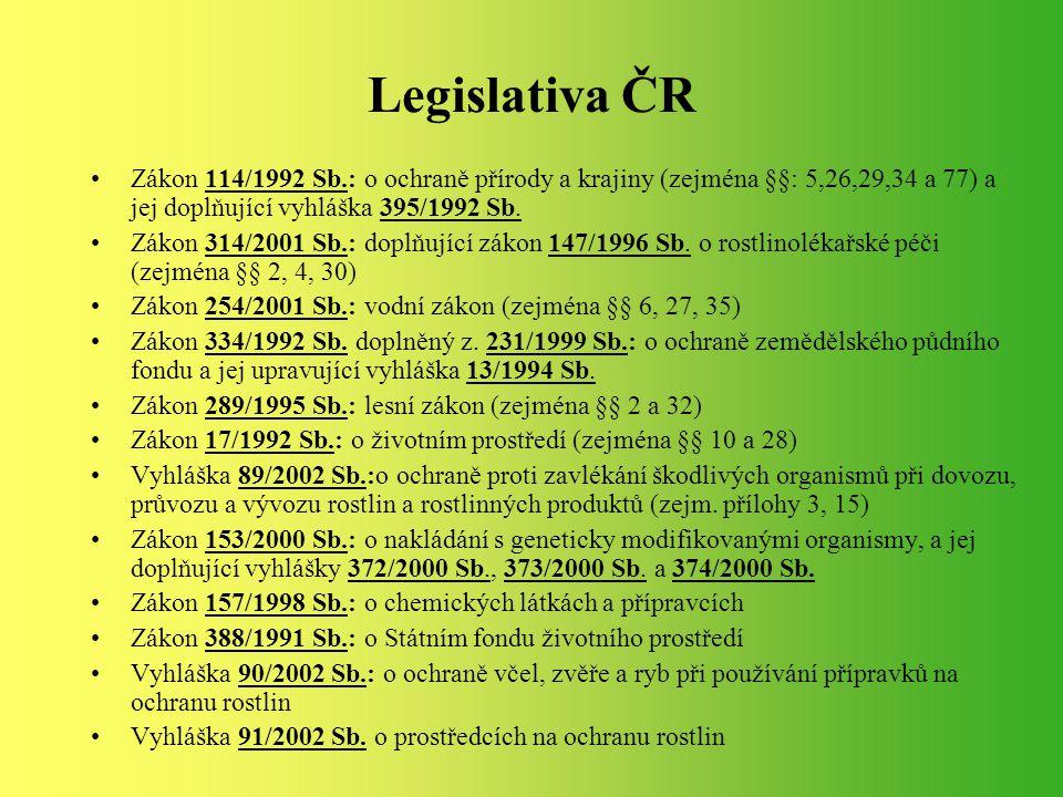 Legislativa ČR Zákon 114/1992 Sb.: o ochraně přírody a krajiny (zejména §§: 5,26,29,34 a 77) a jej doplňující vyhláška 395/1992 Sb. Zákon 314/2001 Sb.