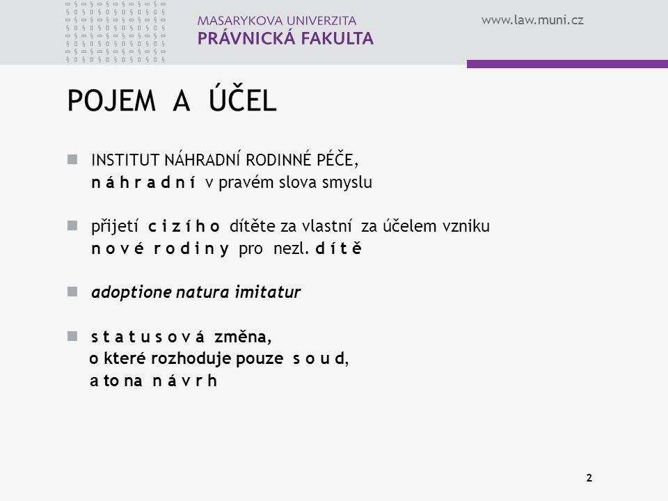 www.law.muni.cz 2 POJEM A ÚČEL INSTITUT NÁHRADNÍ RODINNÉ PÉČE, n á h r a d n í v pravém slova smyslu přijetí c i z í h o dítěte za vlastní za účelem vzniku n o v é r o d i n y pro nezl.