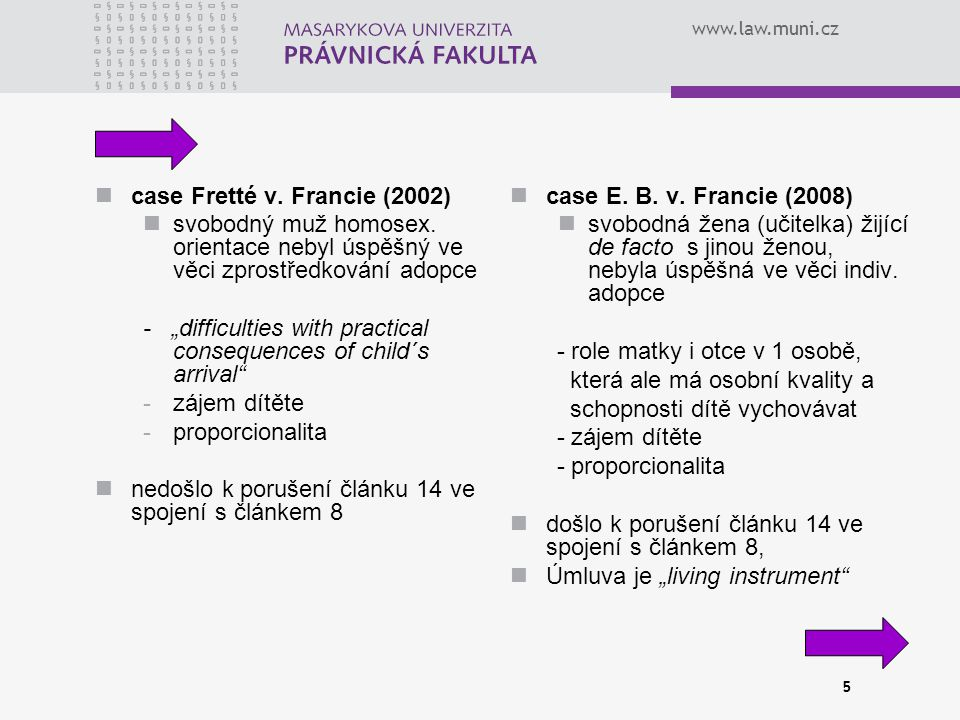 www.law.muni.cz 5 case Fretté v.Francie (2002) svobodný muž homosex.