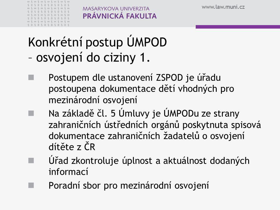 www.law.muni.cz Konkrétní postup ÚMPOD – osvojení do ciziny 1.