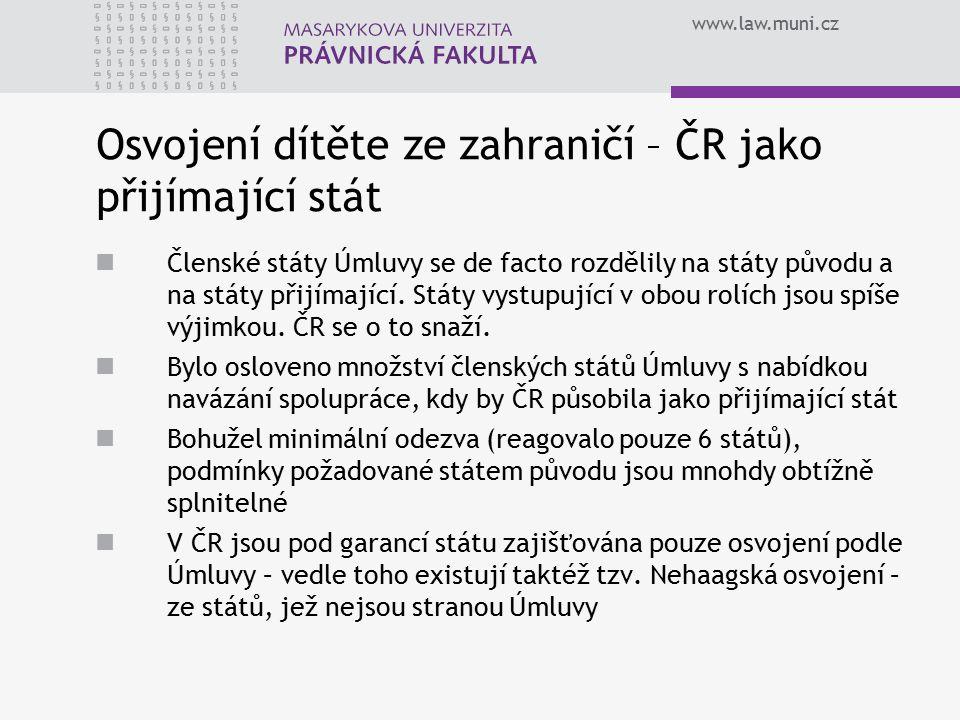 www.law.muni.cz Osvojení dítěte ze zahraničí – ČR jako přijímající stát Členské státy Úmluvy se de facto rozdělily na státy původu a na státy přijímající.