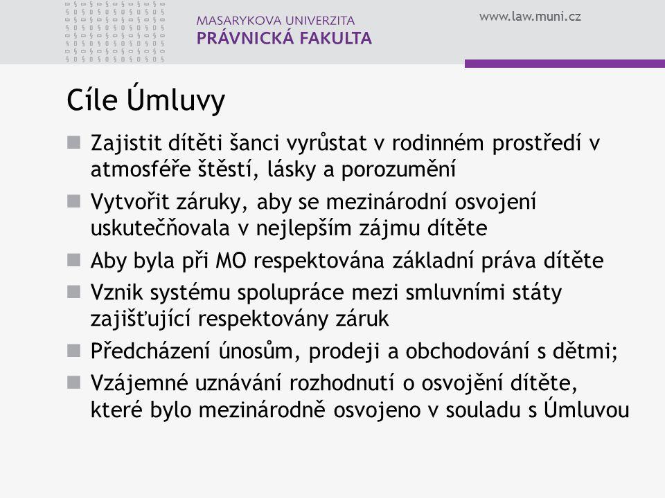 www.law.muni.cz Ústřední orgány podle Úmluvy Pro plnění povinností uložených Úmluvou a plnění jejích cílů byly v každém členském státu vytvořeny tzv.