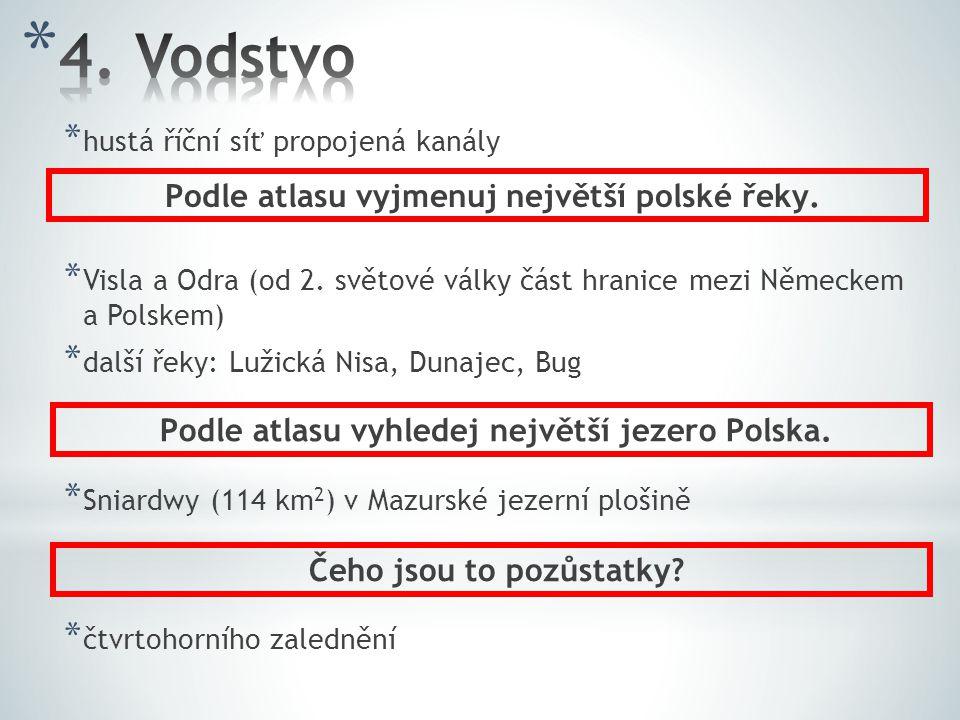 * hustá říční síť propojená kanály * Visla a Odra (od 2. světové války část hranice mezi Německem a Polskem) * další řeky: Lužická Nisa, Dunajec, Bug