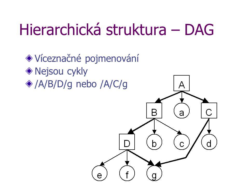 Hierarchická struktura – DAG Víceznačné pojmenování Nejsou cykly /A/B/D/g nebo /A/C/g