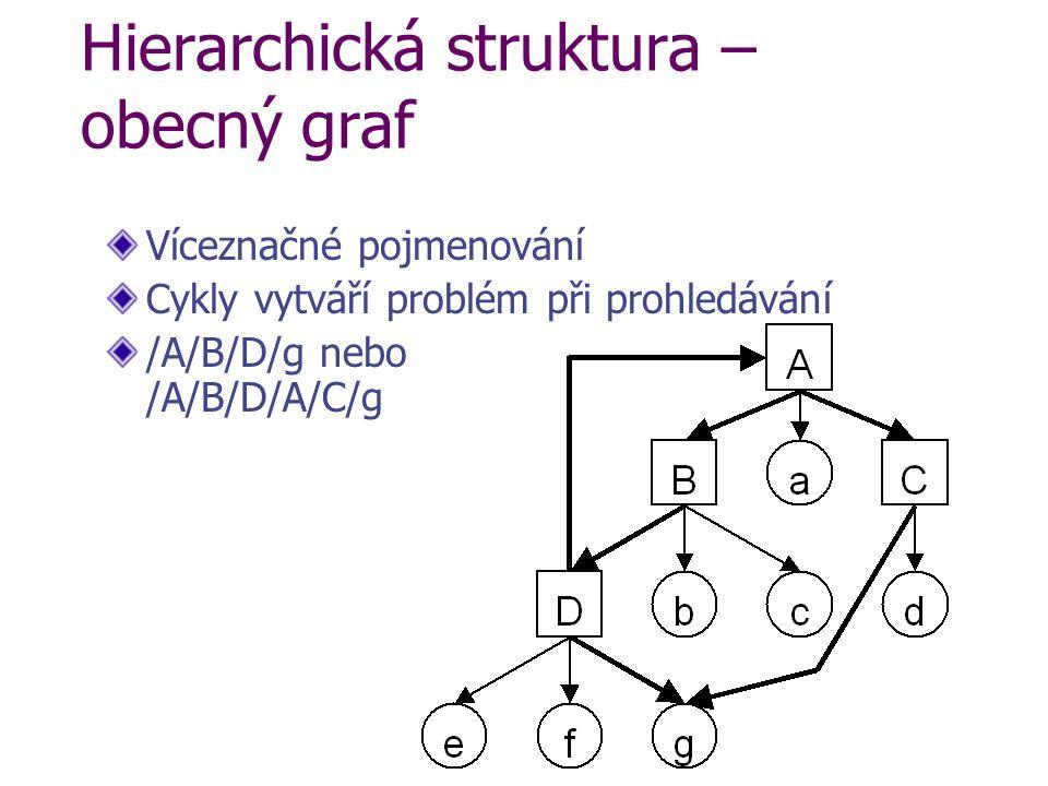 Hierarchická struktura – obecný graf Víceznačné pojmenování Cykly vytváří problém při prohledávání /A/B/D/g nebo /A/B/D/A/C/g