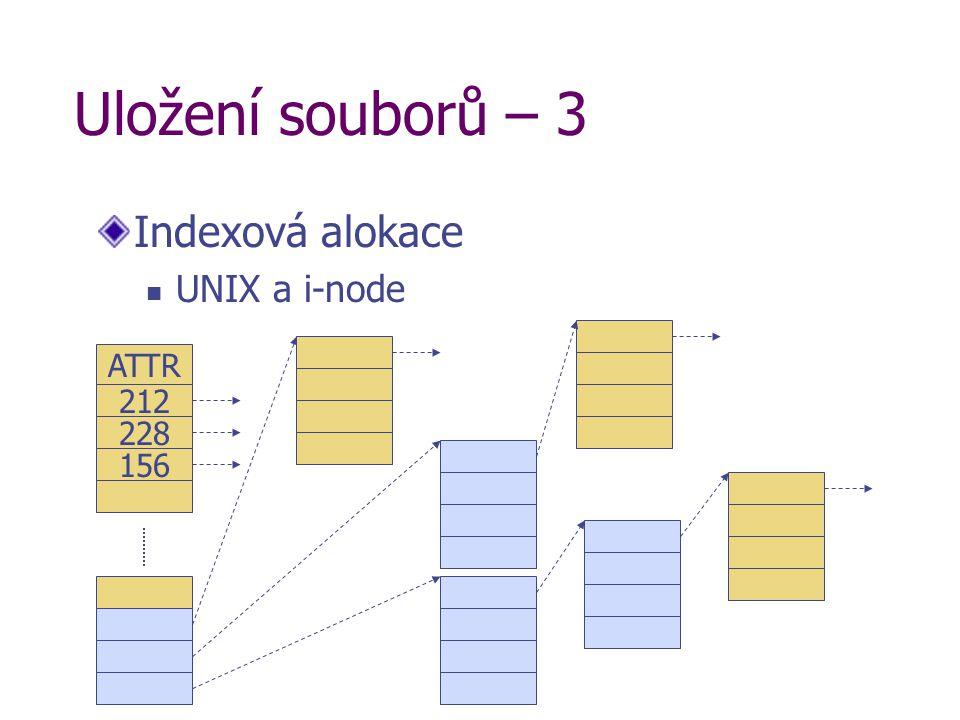 Uložení souborů – 3 Indexová alokace UNIX a i-node 212 228 ATTR 156