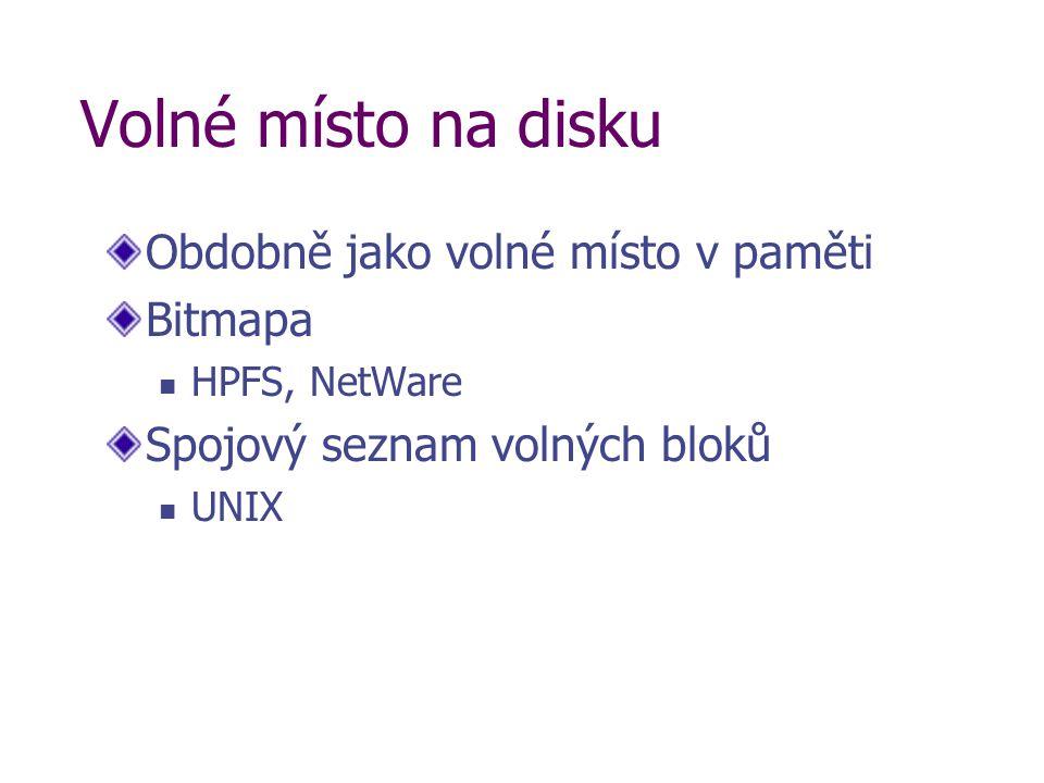 Volné místo na disku Obdobně jako volné místo v paměti Bitmapa HPFS, NetWare Spojový seznam volných bloků UNIX