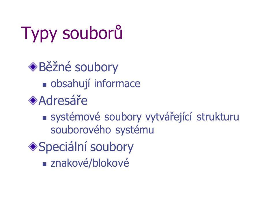 Typy souborů Běžné soubory obsahují informace Adresáře systémové soubory vytvářející strukturu souborového systému Speciální soubory znakové/blokové