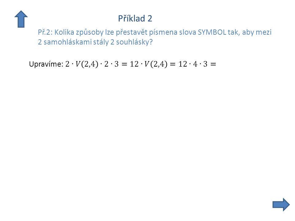 Příklad 2 Př.2: Kolika způsoby lze přestavět písmena slova SYMBOL tak, aby mezi 2 samohláskami stály 2 souhlásky?