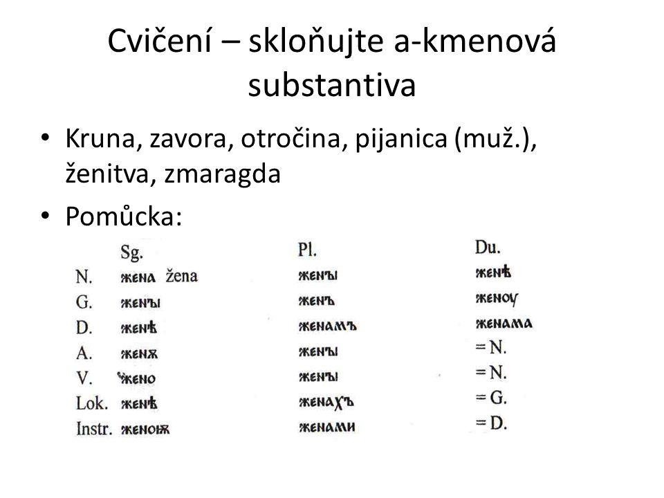 Cvičení – skloňujte a-kmenová substantiva Kruna, zavora, otročina, pijanica (muž.), ženitva, zmaragda Pomůcka: