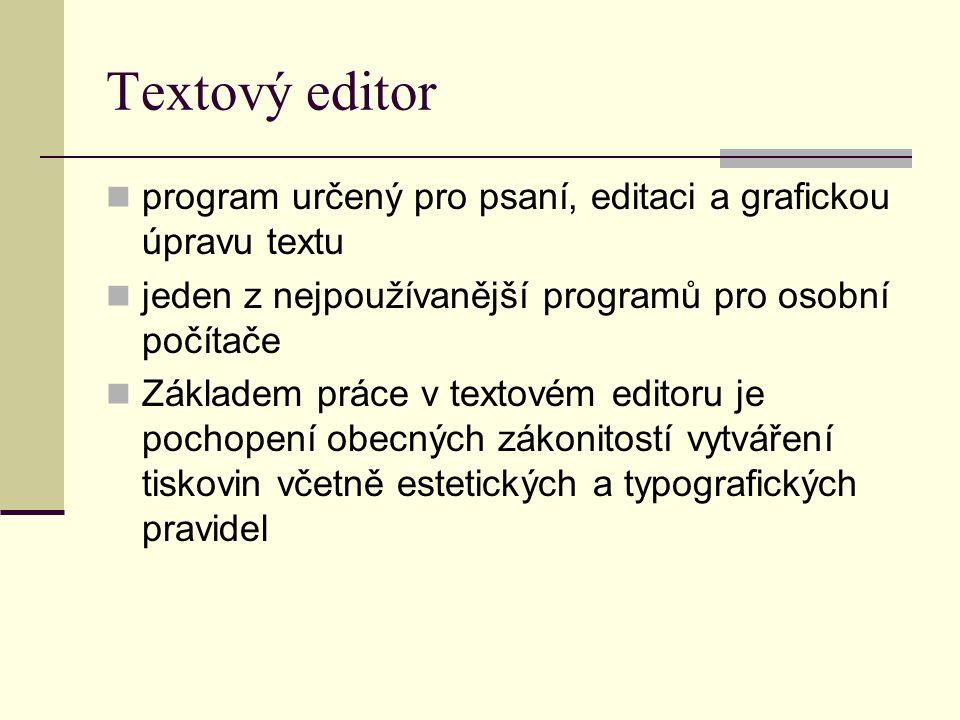 Textový editor program určený pro psaní, editaci a grafickou úpravu textu jeden z nejpoužívanější programů pro osobní počítače Základem práce v textov
