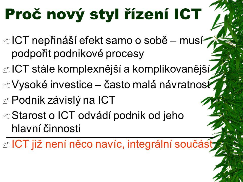  ICT nepřináší efekt samo o sobě – musí podpořit podnikové procesy  ICT stále komplexnější a komplikovanější  Vysoké investice – často malá návratnost  Podnik závislý na ICT  Starost o ICT odvádí podnik od jeho hlavní činnosti  ICT již není něco navíc, integrální součást Proč nový styl řízení ICT