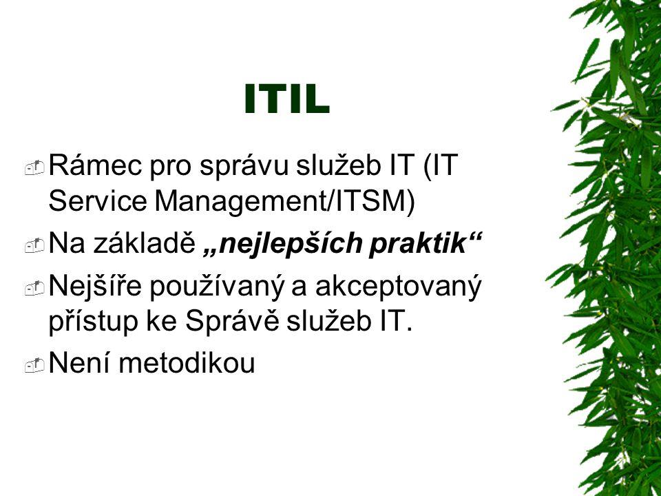 """ITIL  Rámec pro správu služeb IT (IT Service Management/ITSM)  Na základě """"nejlepších praktik  Nejšíře používaný a akceptovaný přístup ke Správě služeb IT."""