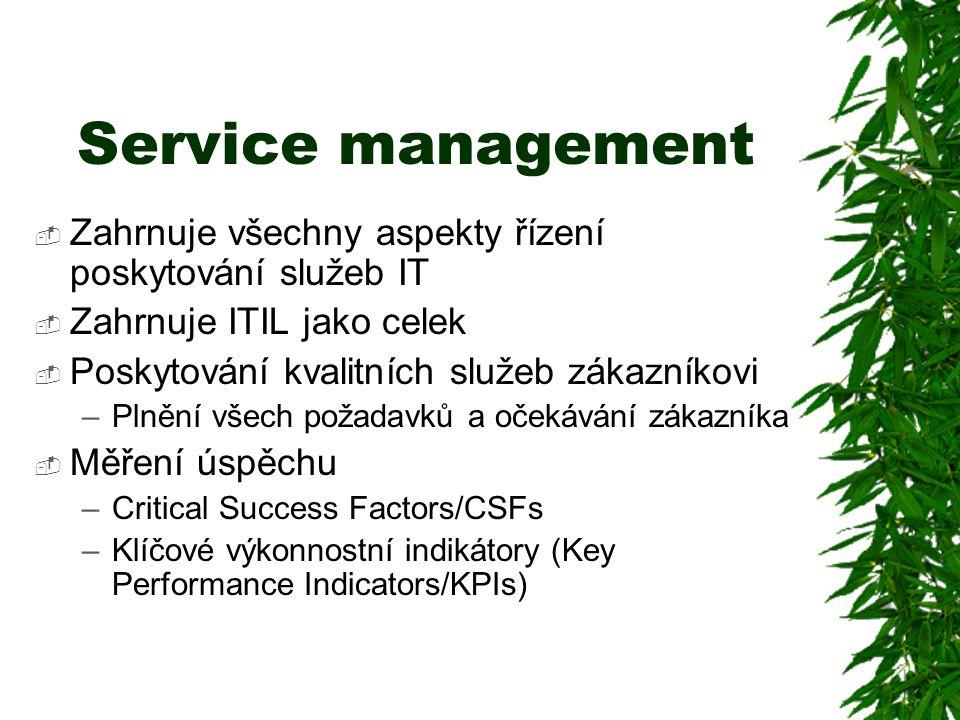 Service management  Zahrnuje všechny aspekty řízení poskytování služeb IT  Zahrnuje ITIL jako celek  Poskytování kvalitních služeb zákazníkovi –Plnění všech požadavků a očekávání zákazníka  Měření úspěchu –Critical Success Factors/CSFs –Klíčové výkonnostní indikátory (Key Performance Indicators/KPIs)