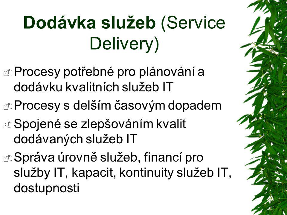 Dodávka služeb (Service Delivery)  Procesy potřebné pro plánování a dodávku kvalitních služeb IT  Procesy s delším časovým dopadem  Spojené se zlepšováním kvalit dodávaných služeb IT  Správa úrovně služeb, financí pro služby IT, kapacit, kontinuity služeb IT, dostupnosti