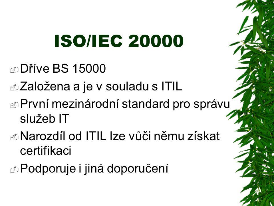 ISO/IEC 20000  Dříve BS 15000  Založena a je v souladu s ITIL  První mezinárodní standard pro správu služeb IT  Narozdíl od ITIL lze vůči němu získat certifikaci  Podporuje i jiná doporučení