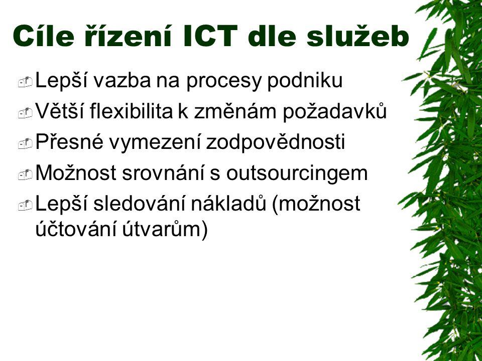 Cíle řízení ICT dle služeb  Lepší vazba na procesy podniku  Větší flexibilita k změnám požadavků  Přesné vymezení zodpovědnosti  Možnost srovnání s outsourcingem  Lepší sledování nákladů (možnost účtování útvarům)