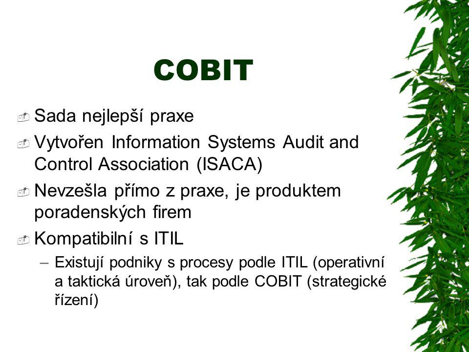 COBIT  Sada nejlepší praxe  Vytvořen Information Systems Audit and Control Association (ISACA)  Nevzešla přímo z praxe, je produktem poradenských firem  Kompatibilní s ITIL –Existují podniky s procesy podle ITIL (operativní a taktická úroveň), tak podle COBIT (strategické řízení)