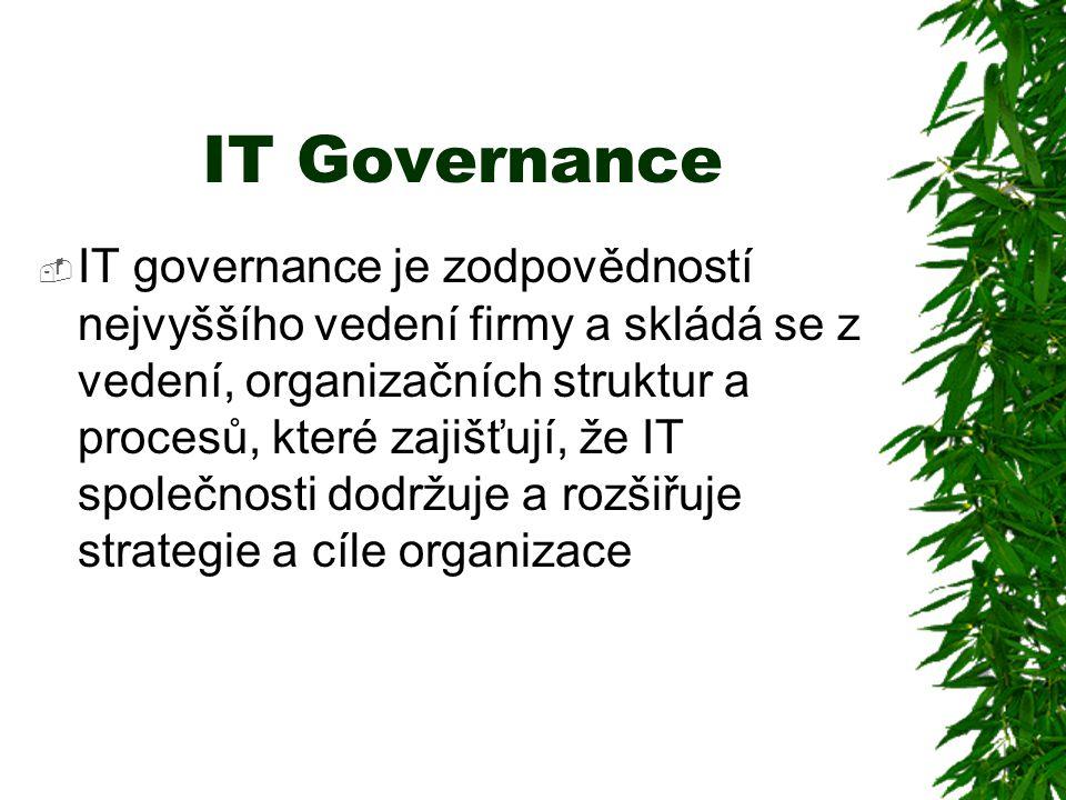 IT Governance  IT governance je zodpovědností nejvyššího vedení firmy a skládá se z vedení, organizačních struktur a procesů, které zajišťují, že IT společnosti dodržuje a rozšiřuje strategie a cíle organizace