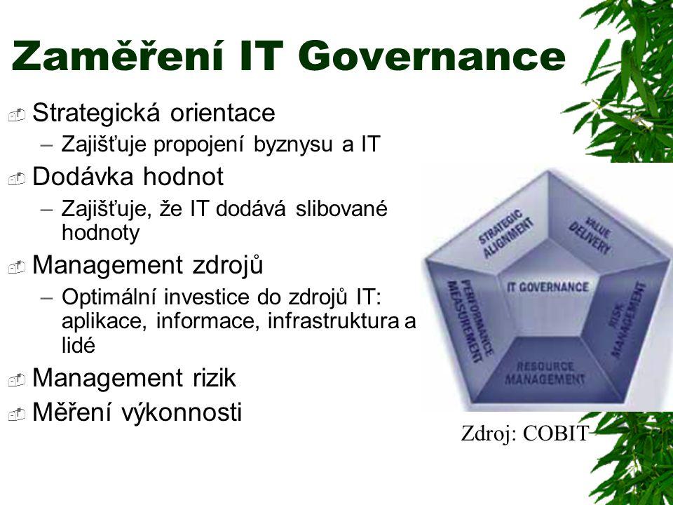 Zaměření IT Governance  Strategická orientace –Zajišťuje propojení byznysu a IT  Dodávka hodnot –Zajišťuje, že IT dodává slibované hodnoty  Management zdrojů –Optimální investice do zdrojů IT: aplikace, informace, infrastruktura a lidé  Management rizik  Měření výkonnosti Zdroj: COBIT