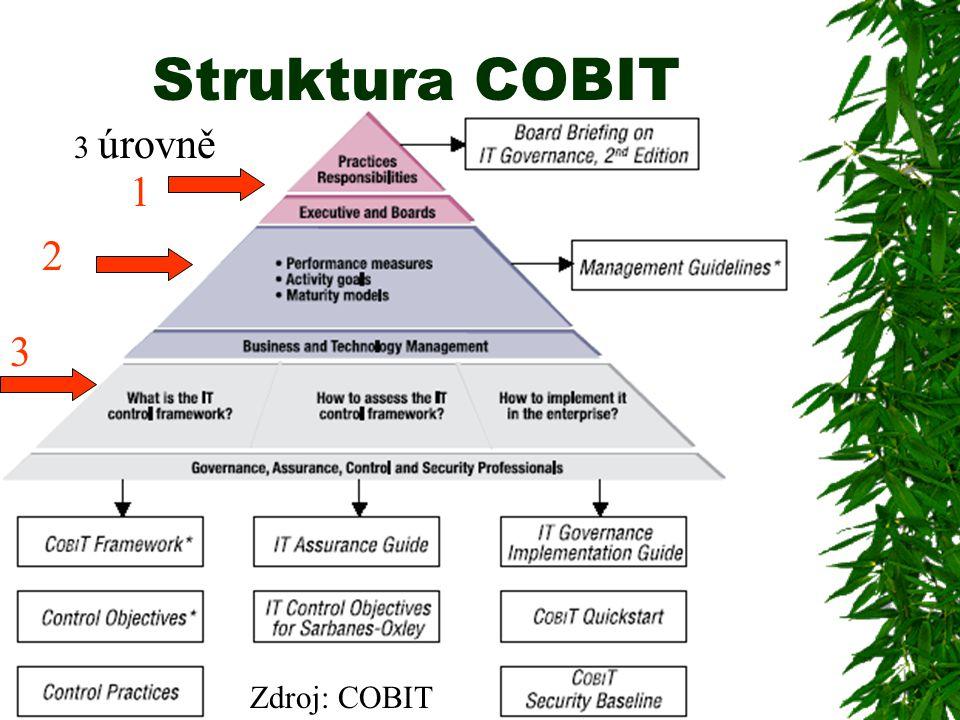 Struktura COBIT 1 2 3 Zdroj: COBIT 3 úrovně