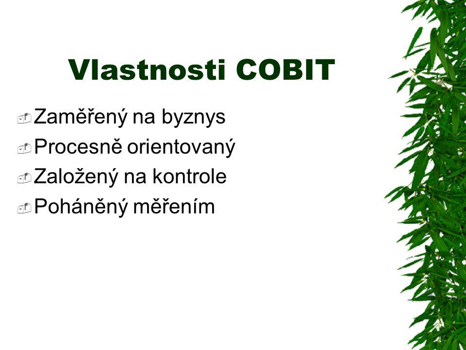 Vlastnosti COBIT  Zaměřený na byznys  Procesně orientovaný  Založený na kontrole  Poháněný měřením