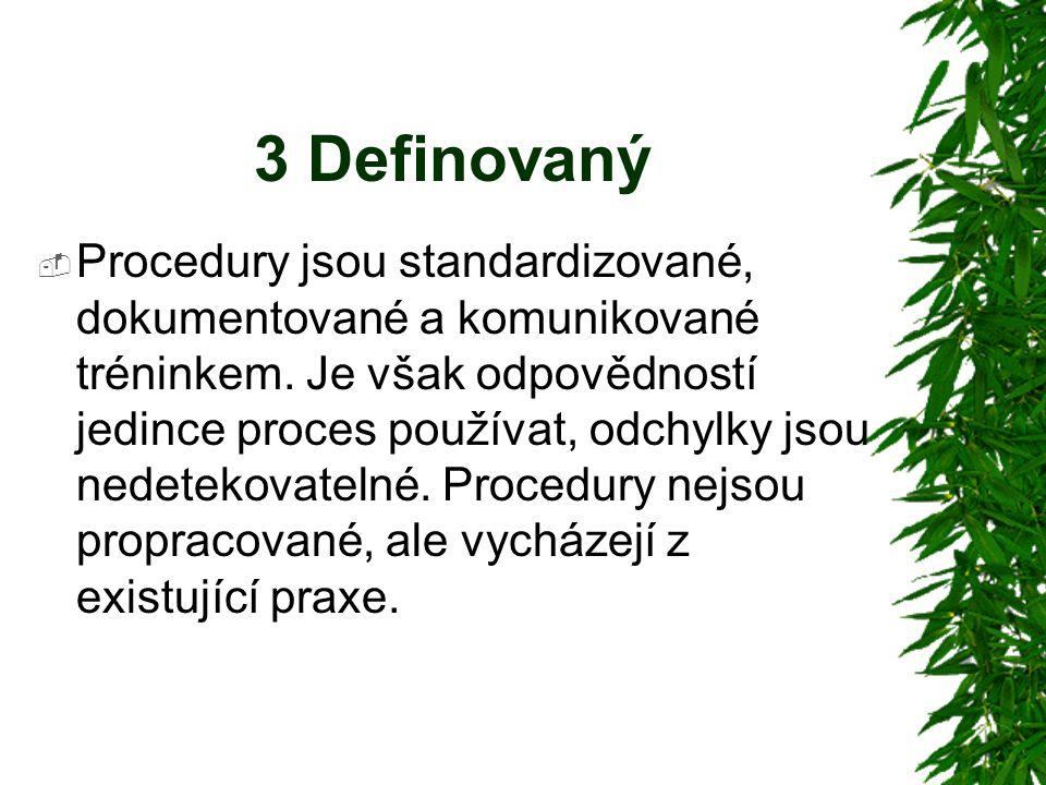 3 Definovaný  Procedury jsou standardizované, dokumentované a komunikované tréninkem.