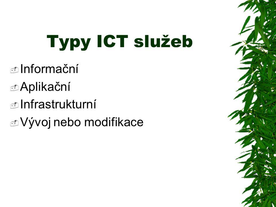 Typy ICT služeb  Informační  Aplikační  Infrastrukturní  Vývoj nebo modifikace