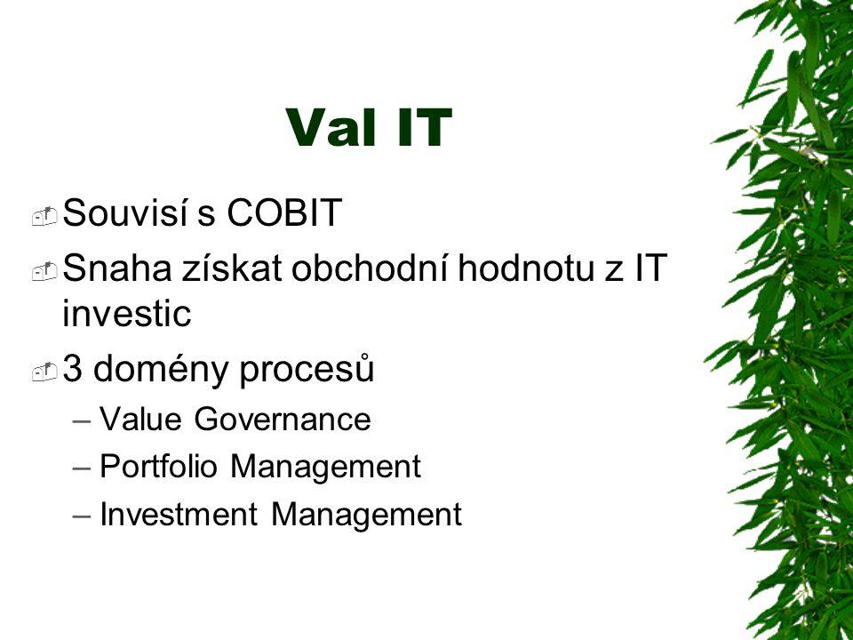 Val IT  Souvisí s COBIT  Snaha získat obchodní hodnotu z IT investic  3 domény procesů –Value Governance –Portfolio Management –Investment Management