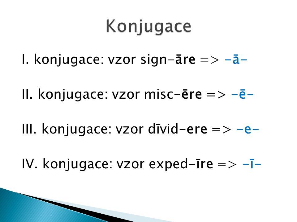 I. konjugace: vzor sign-āre => -ā- II. konjugace: vzor misc-ēre => -ē- III. konjugace: vzor dīvid-ere => -e- IV. konjugace: vzor exped-īre => -ī-