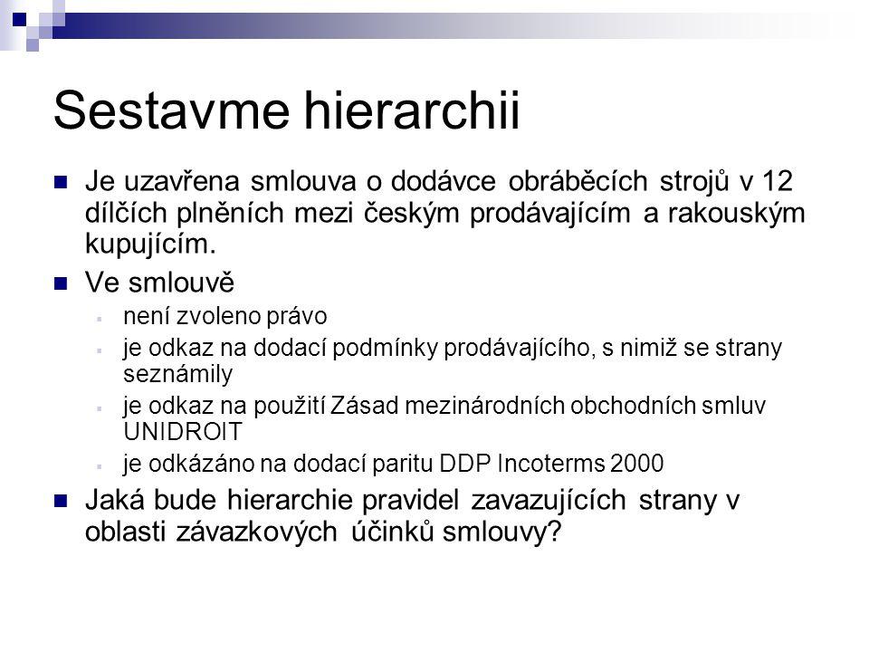 Sestavme hierarchii Je uzavřena smlouva o dodávce obráběcích strojů v 12 dílčích plněních mezi českým prodávajícím a rakouským kupujícím. Ve smlouvě 