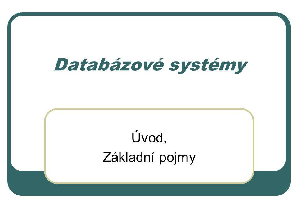 Databázové systémy Úvod, Základní pojmy