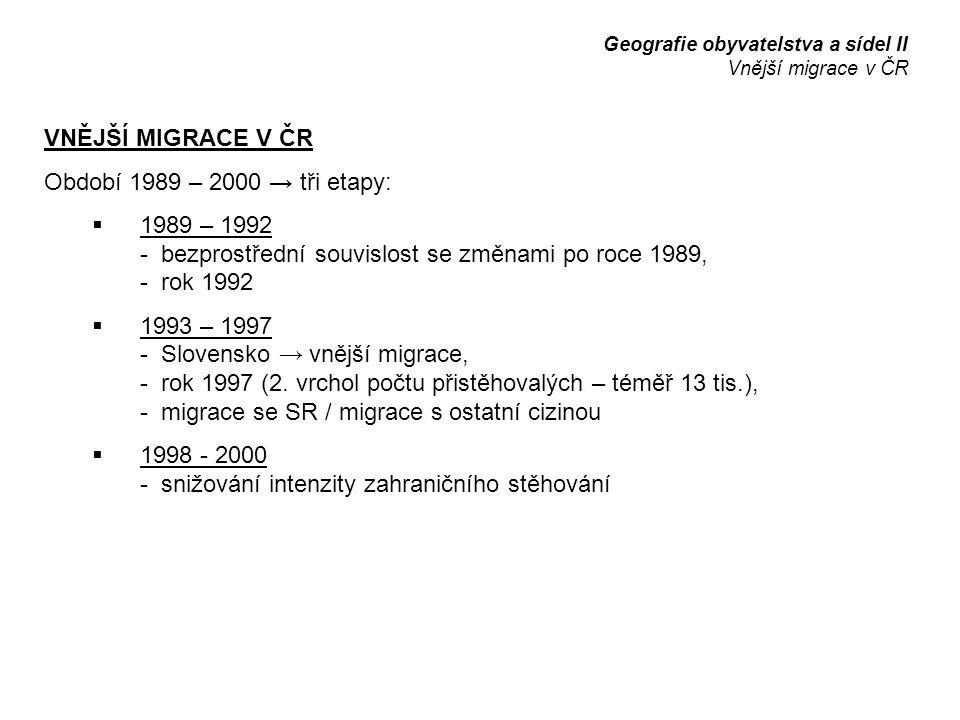 VNĚJŠÍ MIGRACE V ČR Období 1989 – 2000 → tři etapy:  1989 – 1992 - bezprostřední souvislost se změnami po roce 1989, - rok 1992  1993 – 1997 - Slovensko → vnější migrace, - rok 1997 (2.