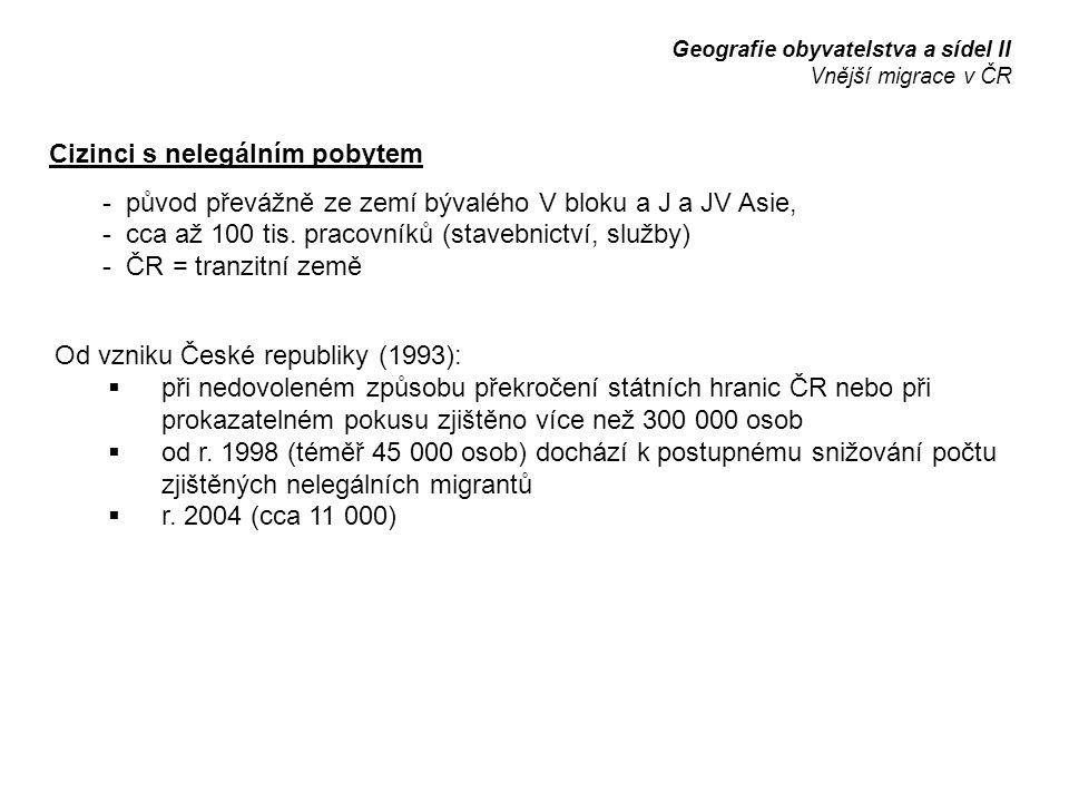 Cizinci s nelegálním pobytem - původ převážně ze zemí bývalého V bloku a J a JV Asie, - cca až 100 tis. pracovníků (stavebnictví, služby) - ČR = tranz
