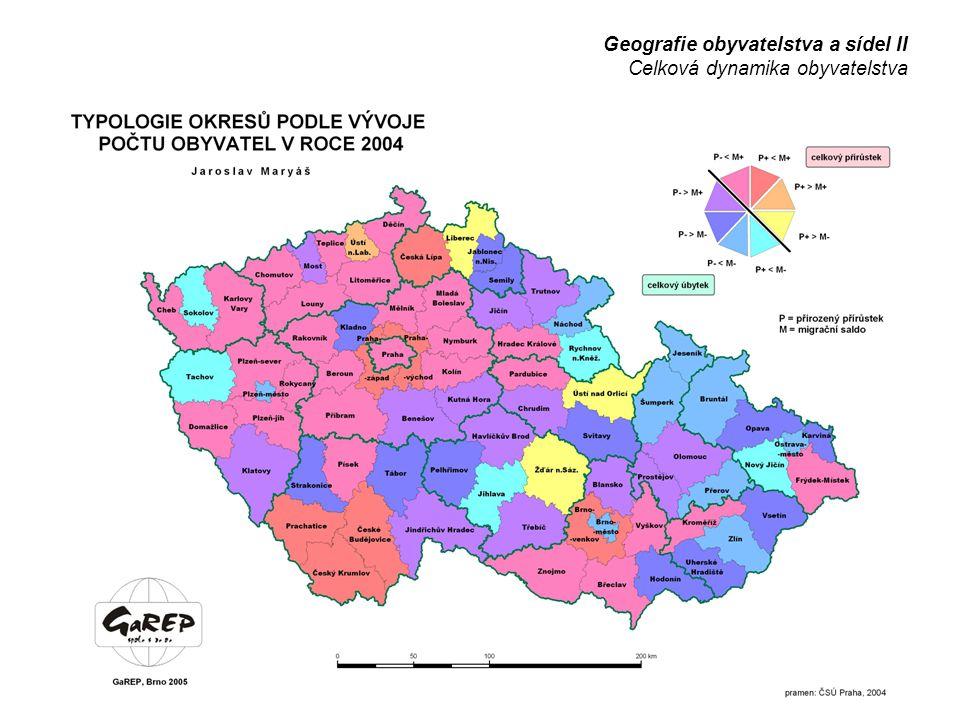 Geografie obyvatelstva a sídel II Celková dynamika obyvatelstva