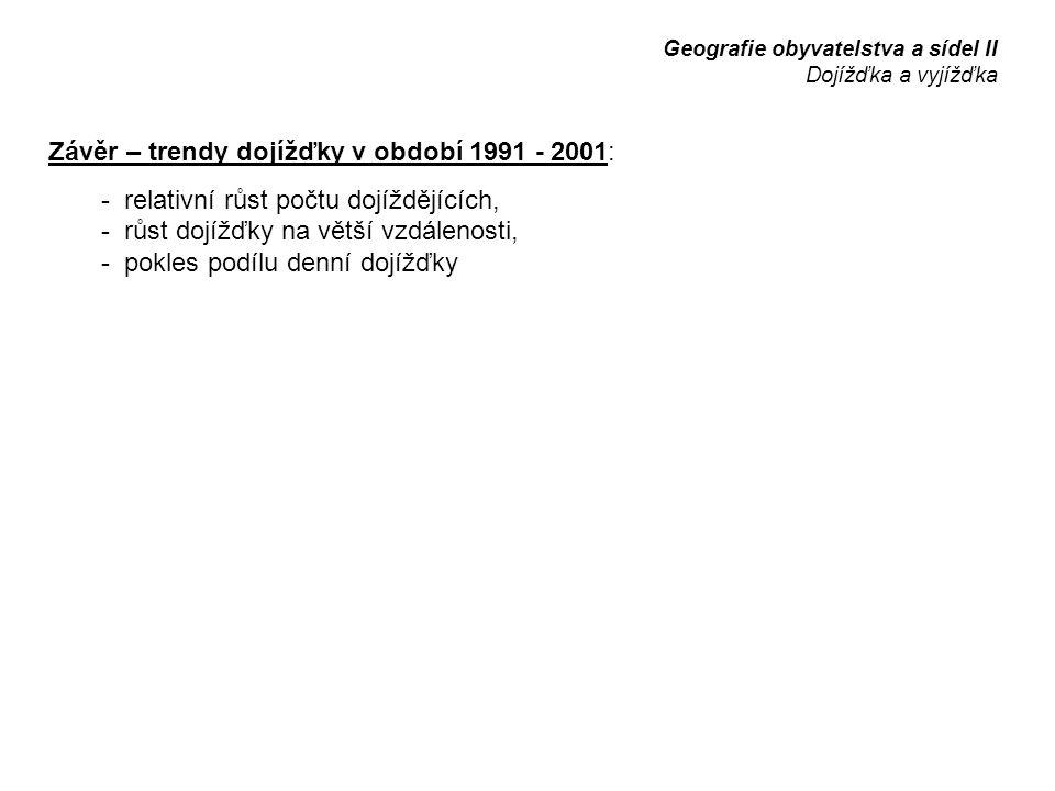 Závěr – trendy dojížďky v období 1991 - 2001: - relativní růst počtu dojíždějících, - růst dojížďky na větší vzdálenosti, - pokles podílu denní dojížďky Geografie obyvatelstva a sídel II Dojížďka a vyjížďka