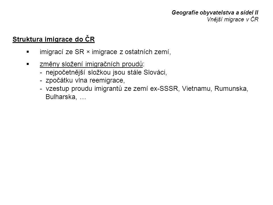 Struktura imigrace do ČR  imigrací ze SR × imigrace z ostatních zemí,  změny složení imigračních proudů: - nejpočetnější složkou jsou stále Slováci,