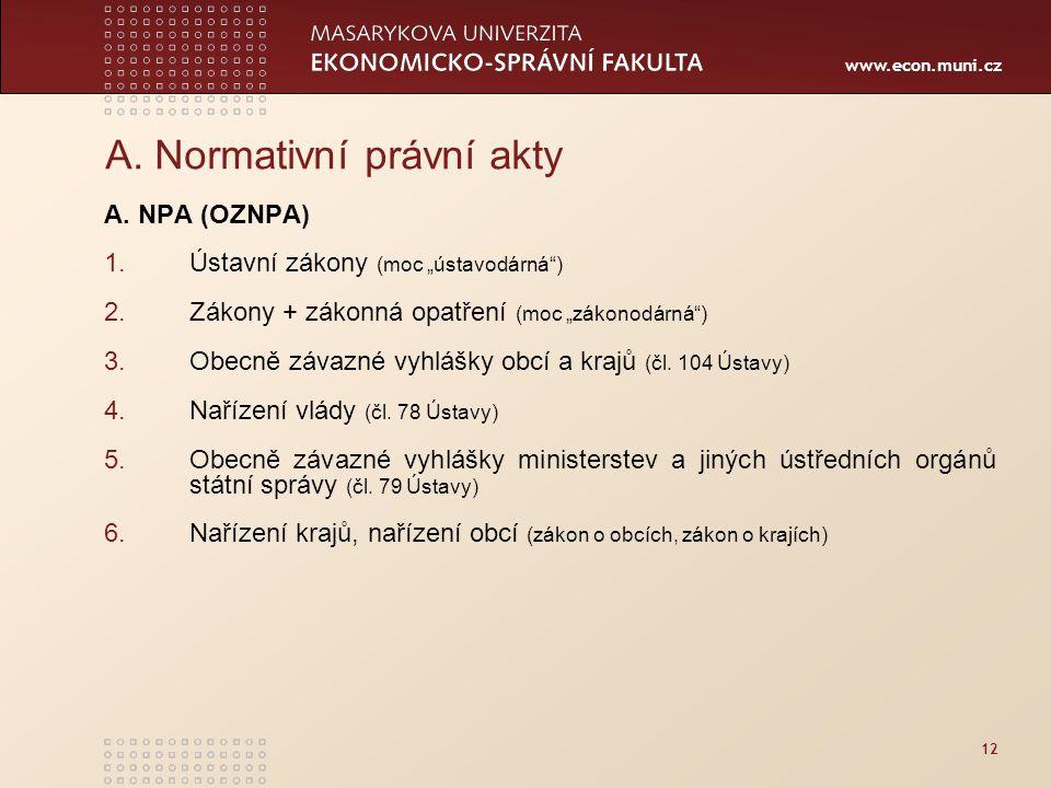 www.econ.muni.cz 12 A.Normativní právní akty A.