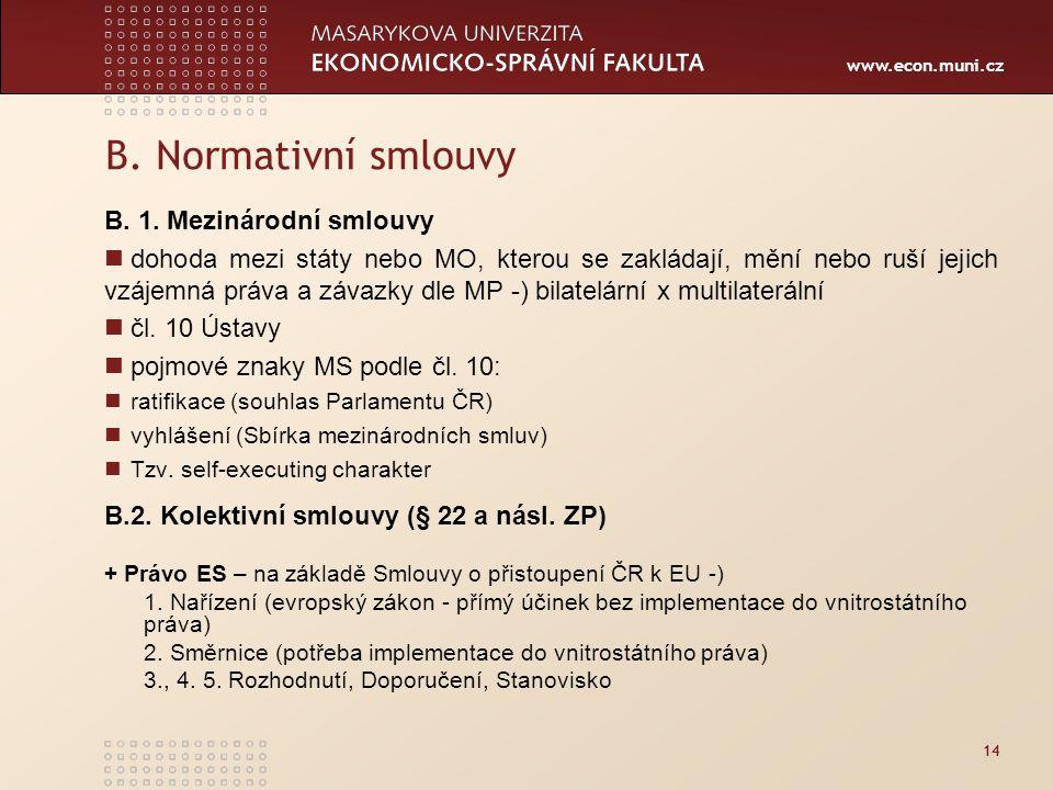 www.econ.muni.cz 14 B. Normativní smlouvy B. 1. Mezinárodní smlouvy dohoda mezi státy nebo MO, kterou se zakládají, mění nebo ruší jejich vzájemná prá