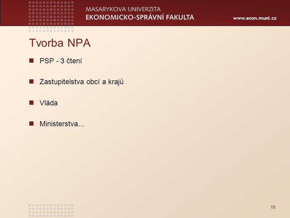 www.econ.muni.cz 18 Tvorba NPA PSP - 3 čtení Zastupitelstva obcí a krajů Vláda Ministerstva…