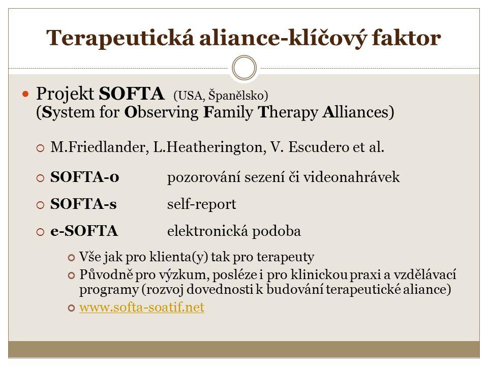 Terapeutická aliance-klíčový faktor Projekt SOFTA (USA, Španělsko) (System for Observing Family Therapy Alliances)  M.Friedlander, L.Heatherington, V