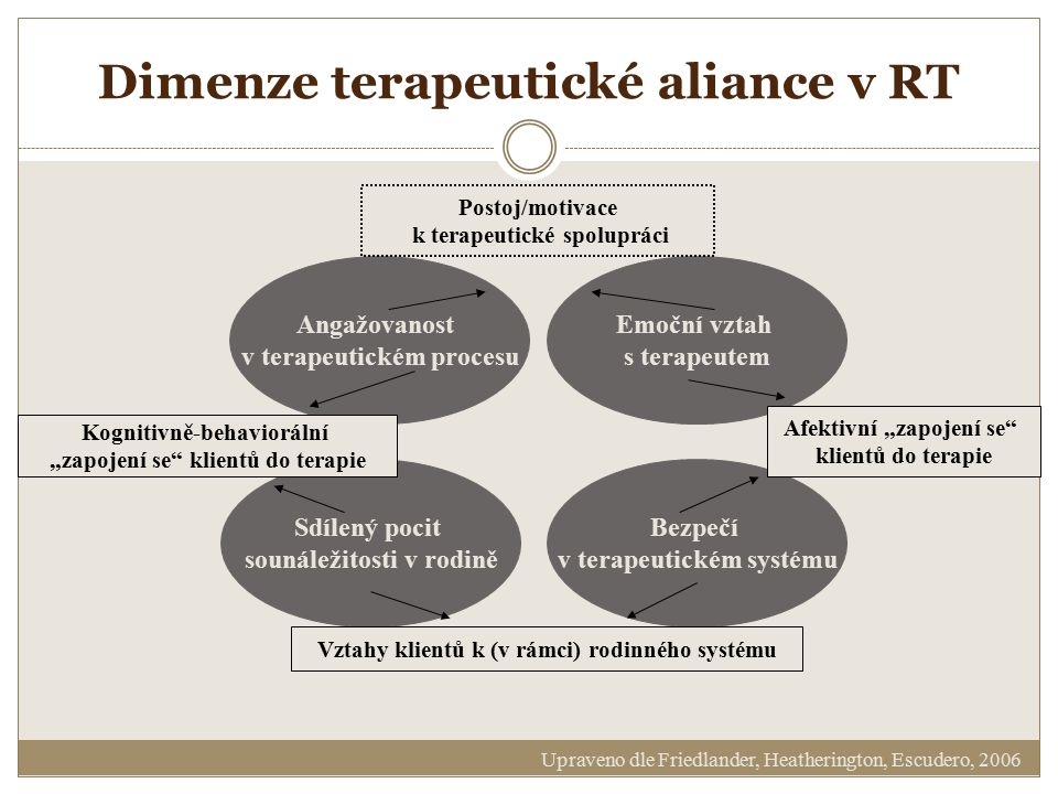 Dimenze terapeutické aliance v RT Angažovanost v terapeutickém procesu Emoční vztah s terapeutem Sdílený pocit sounáležitosti v rodině Bezpečí v terap