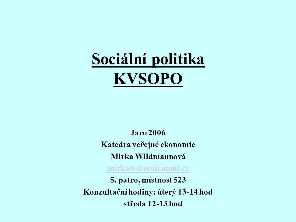 Sociální politika KVSOPO Jaro 2006 Katedra veřejné ekonomie Mirka Wildmannová mirkaw@econ.muni.cz 5.