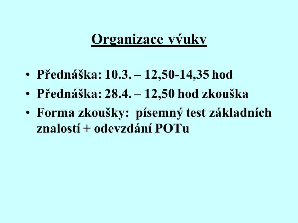 Organizace výuky Přednáška: 10.3. – 12,50-14,35 hod Přednáška: 28.4.