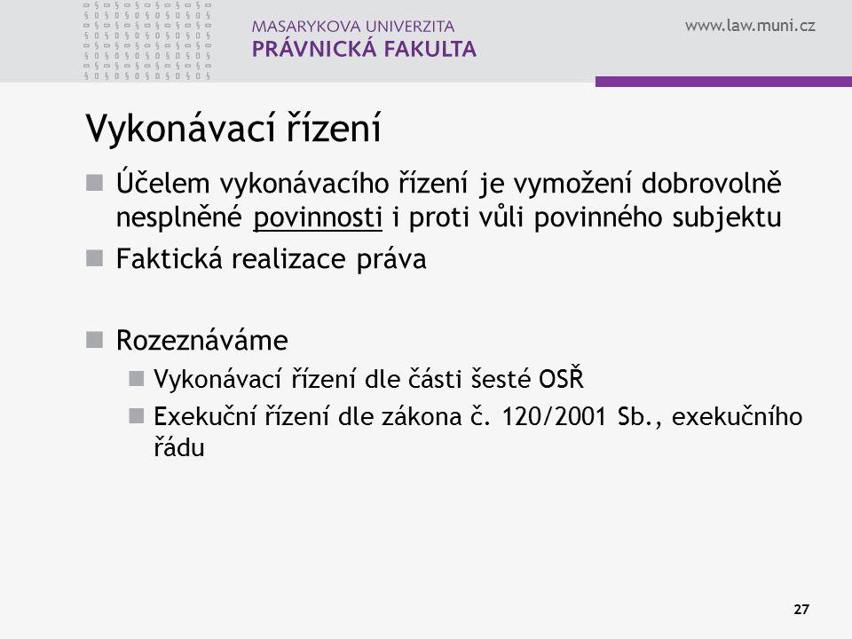 www.law.muni.cz 27 Vykonávací řízení Účelem vykonávacího řízení je vymožení dobrovolně nesplněné povinnosti i proti vůli povinného subjektu Faktická r