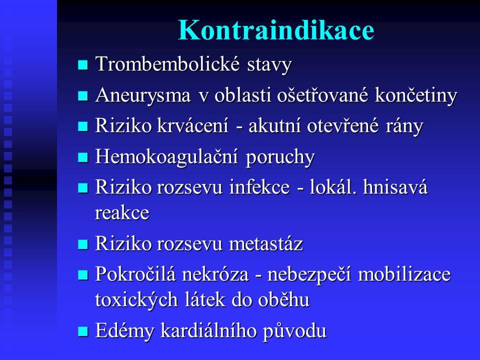 Kontraindikace Trombembolické stavy Trombembolické stavy Aneurysma v oblasti ošetřované končetiny Aneurysma v oblasti ošetřované končetiny Riziko krvácení - akutní otevřené rány Riziko krvácení - akutní otevřené rány Hemokoagulační poruchy Hemokoagulační poruchy Riziko rozsevu infekce - lokál.