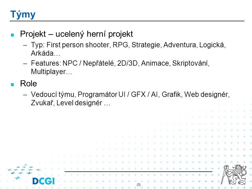 (5) Týmy Projekt – ucelený herní projekt –Typ: First person shooter, RPG, Strategie, Adventura, Logická, Arkáda… –Features: NPC / Nepřátelé, 2D/3D, Animace, Skriptování, Multiplayer… Role –Vedoucí týmu, Programátor UI / GFX / AI, Grafik, Web designér, Zvukař, Level designér …
