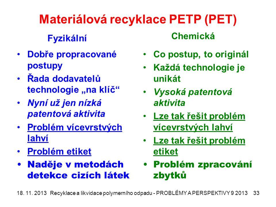 """Materiálová recyklace PETP (PET) Fyzikální Dobře propracované postupy Řada dodavatelů technologie """"na klíč Nyní už jen nízká patentová aktivita Problém vícevrstvých lahví Problém etiket Naděje v metodách detekce cizích látek Chemická Co postup, to originál Každá technologie je unikát Vysoká patentová aktivita Lze tak řešit problém vícevrstvých lahví Lze tak řešit problém etiket Problém zpracování zbytků 18."""