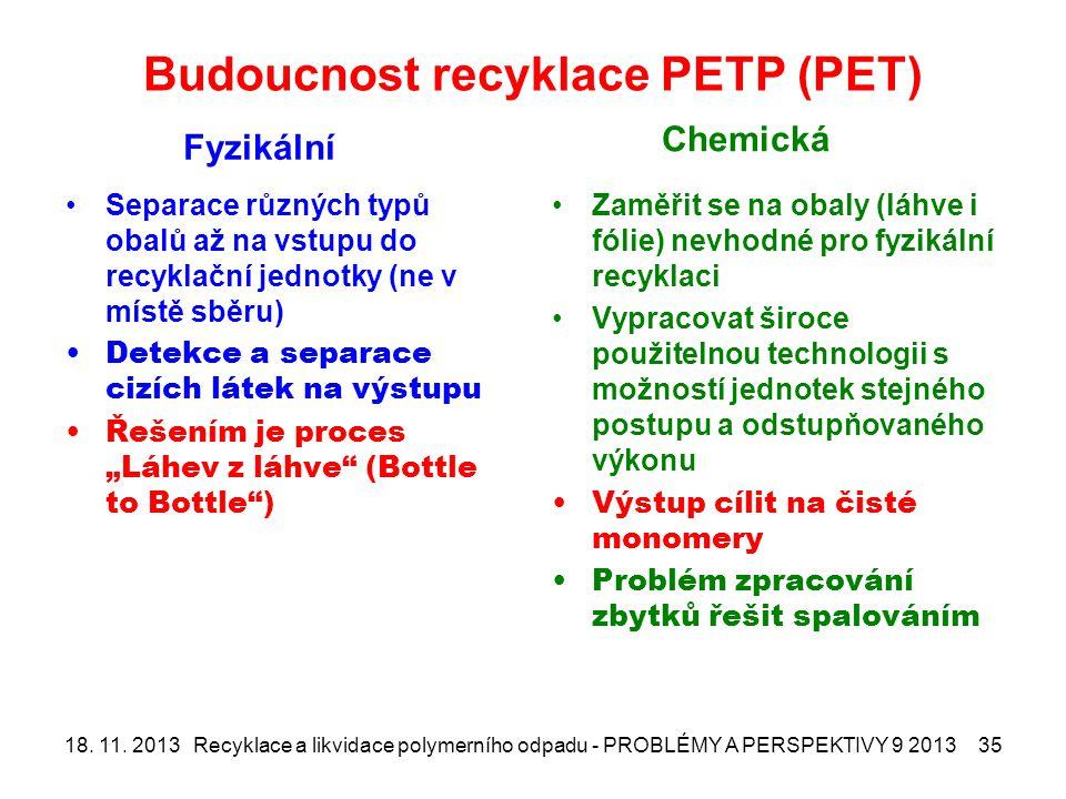 """Budoucnost recyklace PETP (PET) Fyzikální Separace různých typů obalů až na vstupu do recyklační jednotky (ne v místě sběru) Detekce a separace cizích látek na výstupu Řešením je proces """"Láhev z láhve (Bottle to Bottle ) Chemická Zaměřit se na obaly (láhve i fólie) nevhodné pro fyzikální recyklaci Vypracovat široce použitelnou technologii s možností jednotek stejného postupu a odstupňovaného výkonu Výstup cílit na čisté monomery Problém zpracování zbytků řešit spalováním 18."""